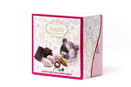 Buratti Confetti alla Mandorla Ricoperta di Cioccolato, Tenerezze Vassoio Rosa - 500 g
