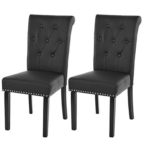 Mendler 2X Esszimmerstuhl Chesterfield II, Stuhl Küchenstuhl, Nieten ~ Kunstleder, schwarz, dunkle Beine