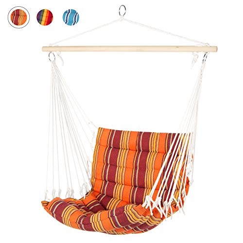 Best Choice Products Indoor Outdoor Padded Cotton Hammock Hanging Chair w/ 40in Spreader Bar - Orange