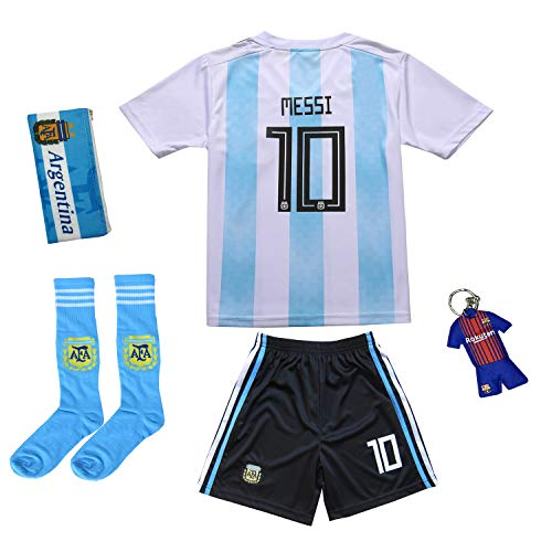 KID BOX 2019 Argentina #10 Home Soccer Kids Jersey & Short Set Youth Sizes (White/Blue, 9-10 Years)