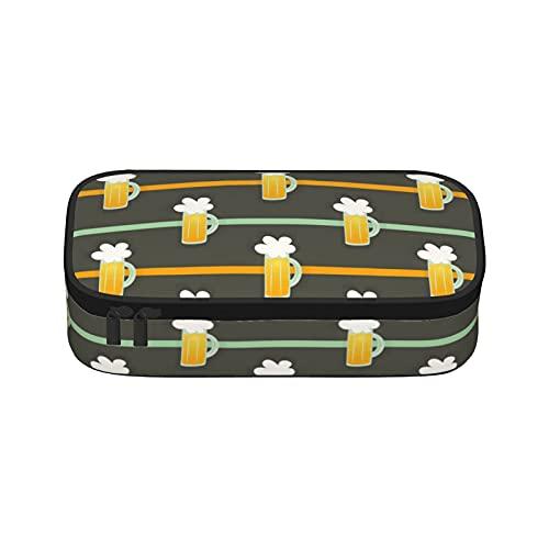 Taza de cerveza de cristal con rayas marrones estuche de lona de gran capacidad de almacenamiento de rotulador de la caja de la pluma simple bolsa de