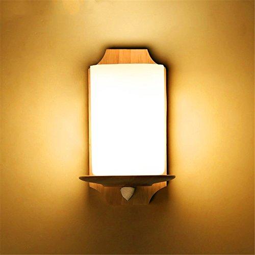 WEXLX Appliques en bois créatifs lampe murale pour Chambre Salon diamètre13 cm hauteur22cm