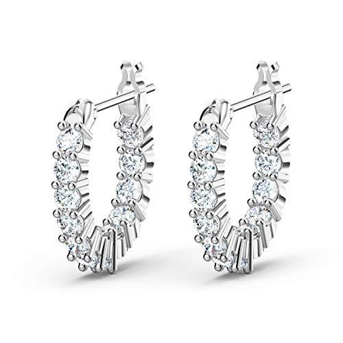 Swarovski Vittore Mini Kreolen, Weiße und Rhodinierte Ohrringe mit Funkelnden Swarovski Kristallen