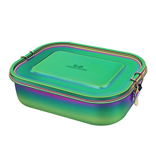 G.a HOMEFAVOR Rainbow Color Lunch Box 1400ml Stainless Steel Bento Box, Large Metal Food Container with Lock Clips, Leakproof Design - Dishwasher Safe