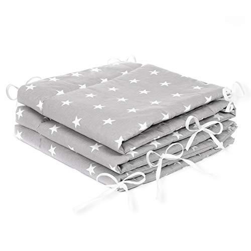 Amilian® Bettumrandung Nest Kopfschutz Nestchen 420x30cm, 360x30cm, 180x30 cm Bettnestchen Baby Kantenschutz Bettausstattung Sternchen grau (180x30cm)