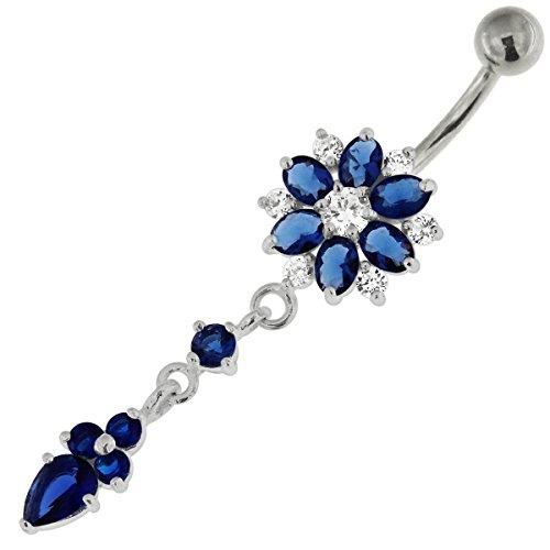 Dunkel blau CZ Stein Doppelschicht Blume Blume Schwanz baumelt 925 Sterling Silber Bauch Bar Piercing-Schmuck