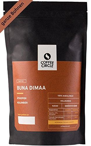 Coffee Circle | Premium Kaffee Buna Dimaa | 350g ganze Bohne | Kräftiger Bio Bohnenkaffee mit wenig Säure | 100% Arabica Blend | fair & direkt gehandelt | frisch & schonend geröstet