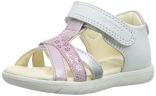 Geox B ALUL Girl D, Sandali Punta Aperta Bambina, Bianco (White/Pink C0406), 21 EU