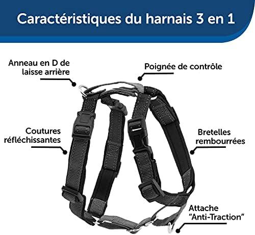 PetSafe - Harnais 3-en-1 Rembourré pour Chien - Ceinture de Sécurité pour Utilisation en Voiture - Harnais Anti-Traction – Confortable, Ajustable et bandes réfléchissantes – Noir - M