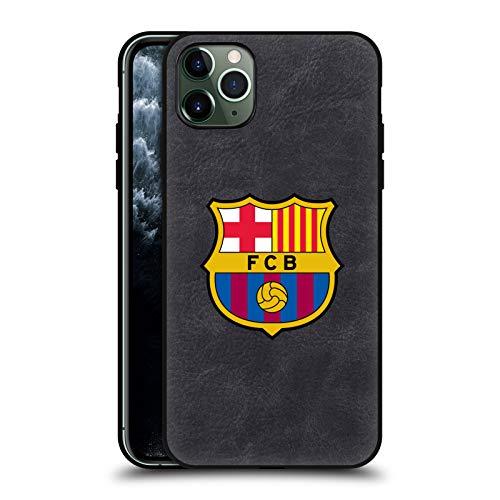 Head Case Designs Offizielle FC Barcelona Voll Logo Schwarze Leder Rueckseiten Huelle kompatibel mit Apple iPhone 11 Pro Max