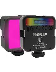 """HAFOKO VL49 Mini RGB LED Licht Camera Video Light Kleur met 3 Koude Schoen 1/4"""" Magnetische Smartphone Vlog Lamp LCD Scherm 2000mah 2500K-9000K compatibel met Sportcamera DSLR Vlogger Youtube Tiktok"""