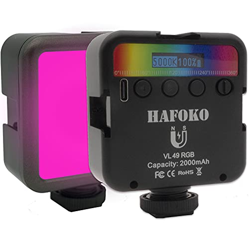 HAFOKO VL49 Mini RGB LED Luce Camera Video Light Telecamera Color w 3 Cold Shoe 1 4  Vlogging Smartphone Vlog Luce Magnetica w Display LCD 2000mah 2500K-9000K compatibile con Fotocamera Tiktok Youtube
