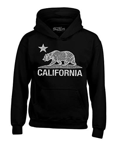 Shop4Ever California Distressed White Bear Hoodies Cali Sweatshirts Large Black 0