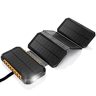 Solar Charger 26800mAh Power Bank - PD18W 4 Solar Panel Portable Charger - External Battery Pack w/ 3 USB Output 3A for Cell Phones Tablet GoPro Camera