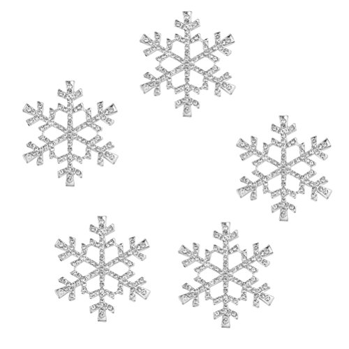FENICAL 5pcs Rhinestone Snowflake Embellishments Christmas Ornaments 40mm (Silver)