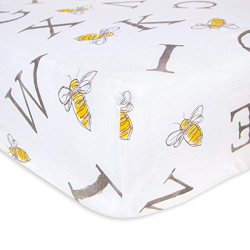 Burt's Bees Baby - Fitted Crib Sheet, Boys & Unisex 100% Organic Cotton Crib Sheet for Standard Crib and Toddler Mattresses (A-Bee-C)
