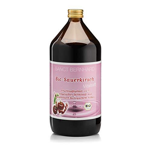 Sanct Bernhard Bio-Sauerkirsch-Vitalsaft, Ungesüßter Direktsaft aus kontrolliert biologischem Anbau, fruchtig-säuerlicher Geschmack, 1 Liter