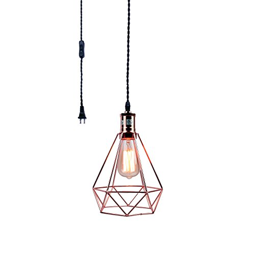 Pauwer Industrial Wire Cage Pendant Light Plug in Vintage...