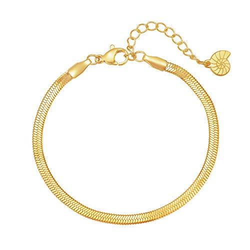 Happiness Boutique Damas Brazalete en Color Oro | Brazalete de Cadena Plana Tipo Serpiente de Acero Inoxidable