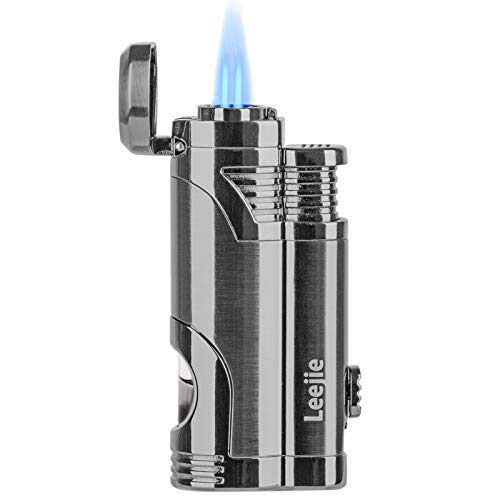 Torch Lighter Dual Jet Flame Refillable Butane Cigar Lighter Windproof Lighter with Cigar Punch - Butane Not Included