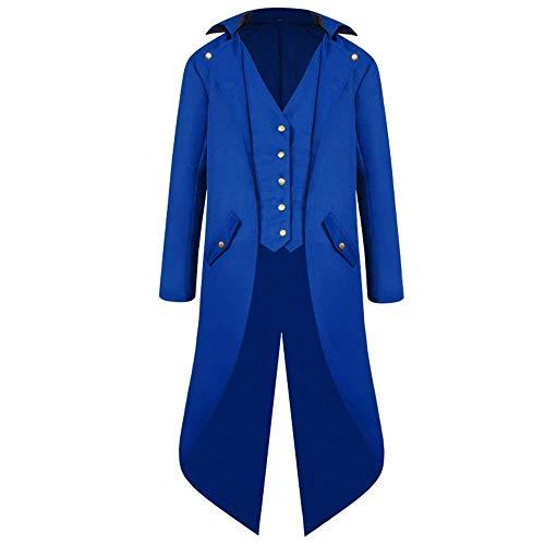 YEZIJIANG Herren Steampunk Vintage Gothic Jacke warme Frack Herrenjacke Knöpfe Langer Mantel Cosplay Kostüm Graben Bomberjacke Cape mit...