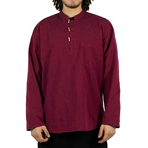 KUNST UND MAGIE Herren Fischerhemden bequemer Schnitt Klassische Farben in verschiedenen Größen, Farbe:Bordeaux, Größe:5XL