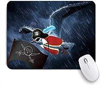 VAMIX マウスパッド 個性的 おしゃれ 柔軟 かわいい ゴム製裏面 ゲーミングマウスパッド PC ノートパソコン オフィス用 デスクマット 滑り止め 耐久性が良い おもしろいパターン (面白い海賊イーグルとレインダークブルーの旗)