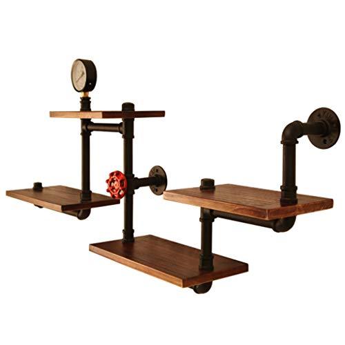 Wandrek metaal wandrek hout wandrek zwart industriële rustieke moderne houten ladder-buis-wandplank 4 lagen buisontwerp boekenplank plank, wandplanken, rekken aan de muur bevestigd, in
