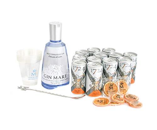 Gin Mare Home Bar (Ginebra 700 ml + 12 Tónicas Premium Seventeen + Naranjas deshidratadas + Vasos + Cucharilla removedora)