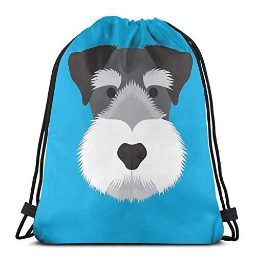 Qian Mu888 Miniatur-Schnauzer-Rucksack mit Kordelzug, leicht, für Fitnessstudio, Reisen, Yoga, Freizeit, Snackpack, Schultertasche für Wandern, Schwimmen und Strand