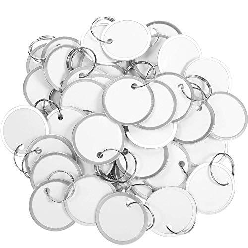 Cobeky Etiquetas de borde de metal, etiquetas de papel redondas con anillos de metal, etiqueta blanca para llaves de coche y llaves de puerta (100)