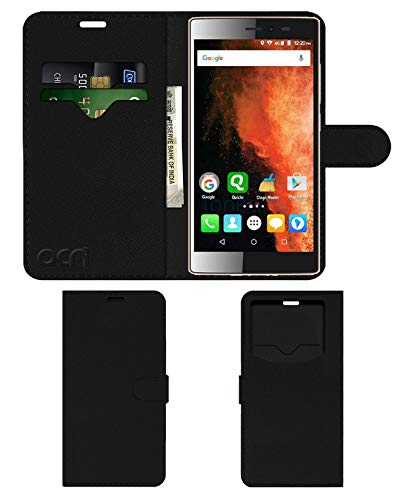 Acm Leather Window Flip Wallet Front & Back Case Compatible with Micromax Canvas 6 E485 Mobile Cover Black