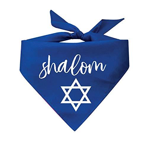Tees & Tails Shalom with Jewish Star Dog Bandana (Assorted Colors) Jewish Holiday Rosh Hashanah Yom Kippur Hanukkah Passover