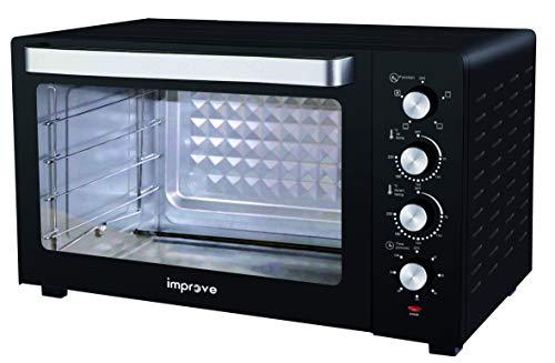 Improve IMPFE100HH Forno elettrico 100L ventilato 2800W, 4 tipi di cottura, luce interna, timer 60 minuti, teglia antiaderente, griglia, maniglia - nero