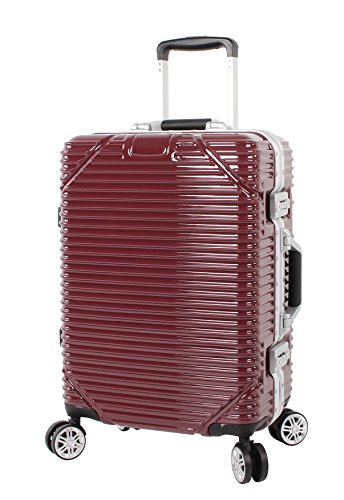 Pathfinder Recon Luggage Aluminum Frame 20 Inch Carry On Zipperless Spinner Suitcase (20in, Red)