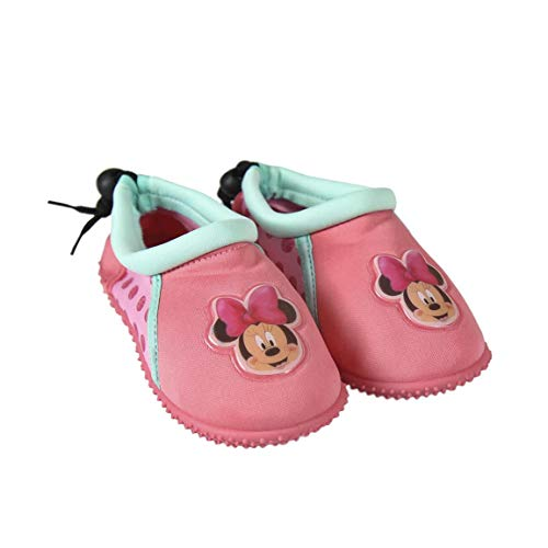 takestop Zapatos de playa con diseño de Minnie Mouse, de Disney, para niña, con cierre de cordón, sandalias con piedras, antideslizantes, para deportes acuáticos Blanco Size: 29 1/3 EU
