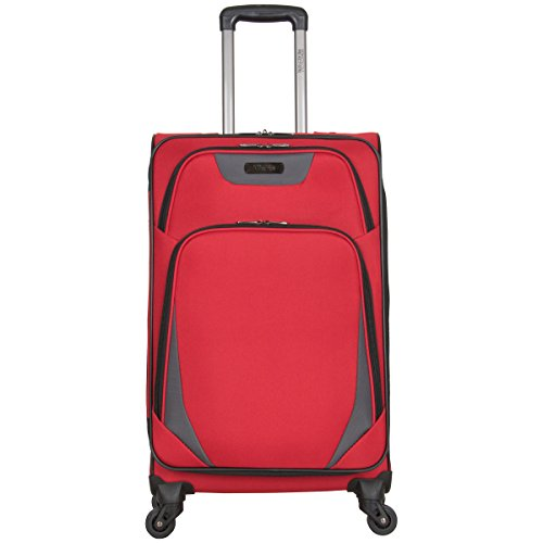 Kenneth Cole Reaction Going Places 24' 600d Polyester Expandable 4-Wheel Spinner Checked Luggage, Red