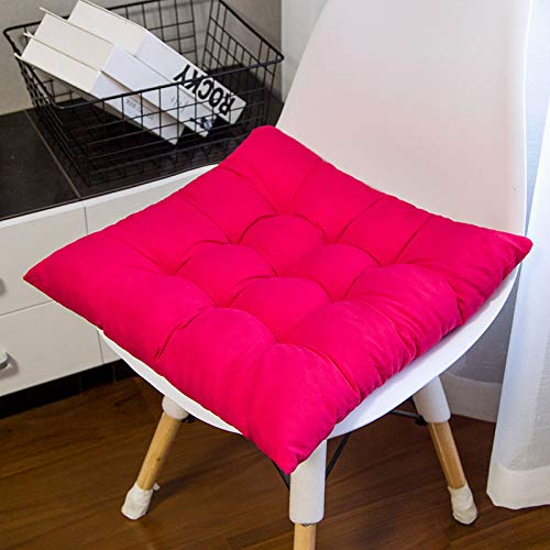 ENERGMiX Thickened Cushion Solid Color Sanding Chair Cushion Office Chair Cushion Student Fart Cushion Dining Chair Tatami 40 * 40 9 pins: rose red.