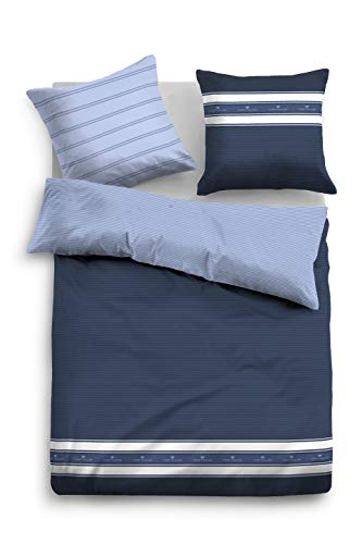 TOM TAILOR 0069978 Bettwäsche Garnitur mit Kopfkissenbezug Baumwoll-Satin 1x 135x200 cm + 1x 80x80 cm indigo blue