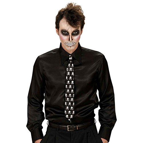 NET TOYS Totenkopf Krawatte Skull Schlips Satin Totenschädel Binder Rock Tie Party Satinkrawatte Halloween Kostüm Zubehör