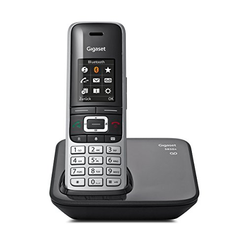 Gigaset S850A Telefon - Schnurlostelefon / Mobilteil - mit Farbdisplay / Dect-Telefon - Anrufbeantworter - schnurloses Telefon - mit Freisprechen - Platin-Schwarz