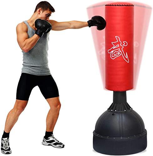 EYEPOWER Freistehender Boxsack für Kinder und Erwachsene - 160cm Standboxsack Set - Box Punching Bag