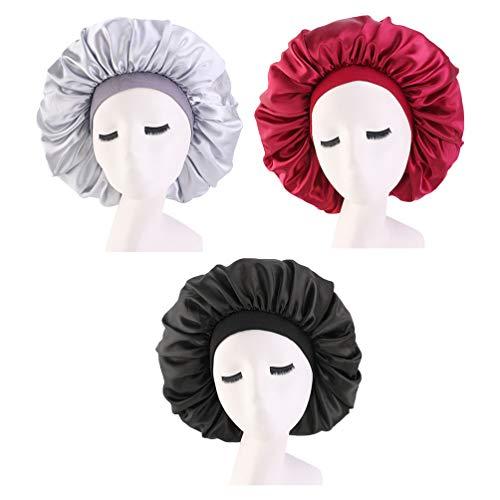 Lurrose 3 Pièces Sommeil Cheveux Bonnet Élastique Large Bande Chapeau Nuit Dormir Tête Couvre pour Les Fournitures de Couchage Voyage à Domicile (Noir Vin Rouge Argent)