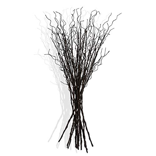 Floerve 12 Pcs Artificial Curly Willow Branches Plants Decorative Brown Twig Stems Spray 30