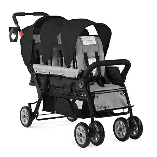 Gaggle Compass 3-Seat Tandem Stroller with Canopy, 5-Point Harness, Foot-Brake (Black)