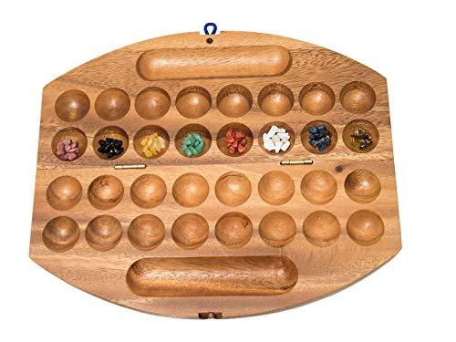 ROMBOL HUS BAO, Steinchenspiel, Bohnenspiel, Halbedelsteine, Mancala, Kalaha, Reisespiel, Familienspiel, Gesellschaftsspiel aus Holz