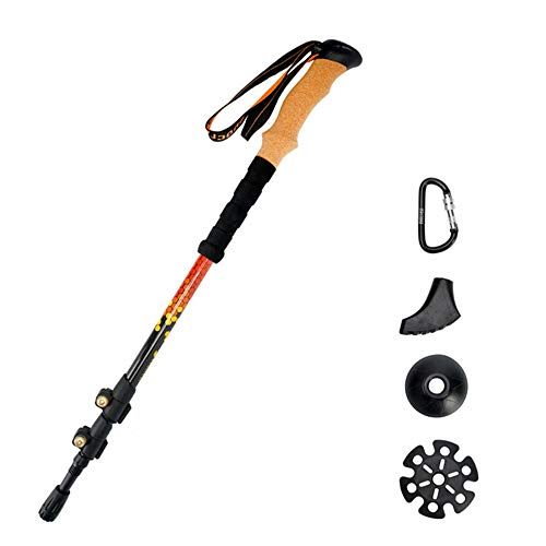 MUYEY Outdoor Ultra-Light Carbon Outer Lock Trekking Poles is The Best Walking Stick for Travel, Camping, Hiking and Mountaineering,Orange