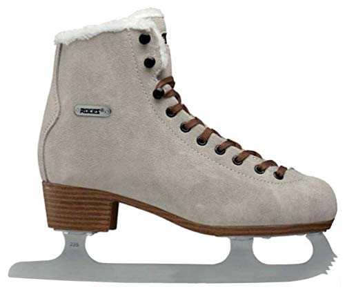 Roces Women's Suede Eco Fur Glamour Figure Ice Skates Lace-Up Italian Beige (10)
