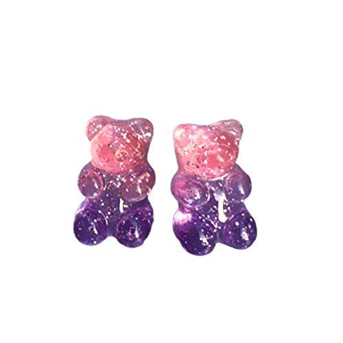 Ruby569y Pendientes colgantes para mujeres y niñas, moda para mujer, color caramelo, dibujos animados, osito gomoso