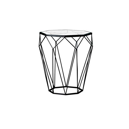 N/Z Daily Equipment Accent Table Nightstand Bedroom Small Coffee Table Nordic Marble Table Tempered Glass Living Room Sofa Iron Corner Table Light Narrow Side Table Small Table (Color : C)